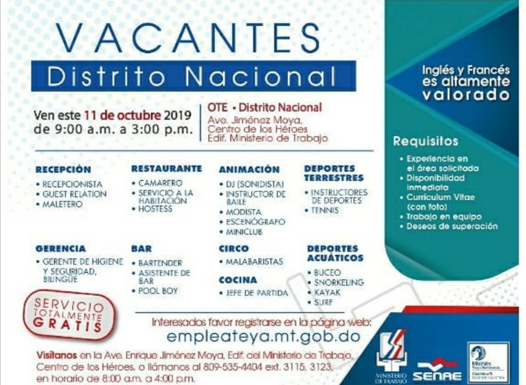 Mañana pa la feria de empleo del ministerio de trabajo en Santo Domingo Distrito Nancional