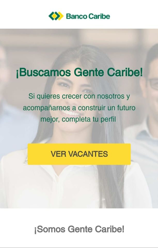 vacante del banco caribe EMPLEO DISPONIBLE